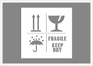Fragile Keep Dry text and graphic stencil