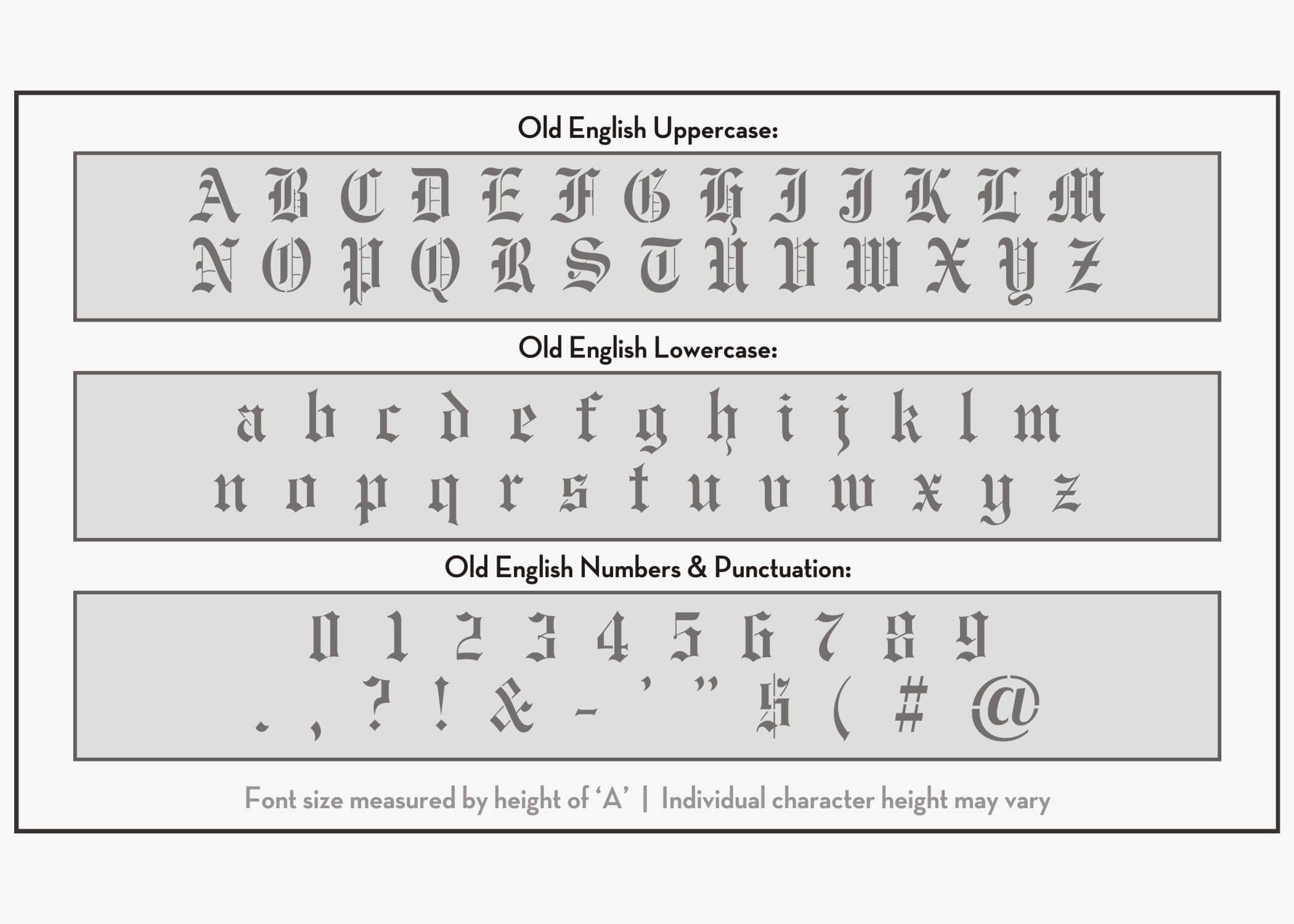 Old English Font Alphabet Stencil | Letter Stencils