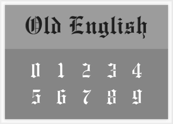 Old English Font Number Stencils