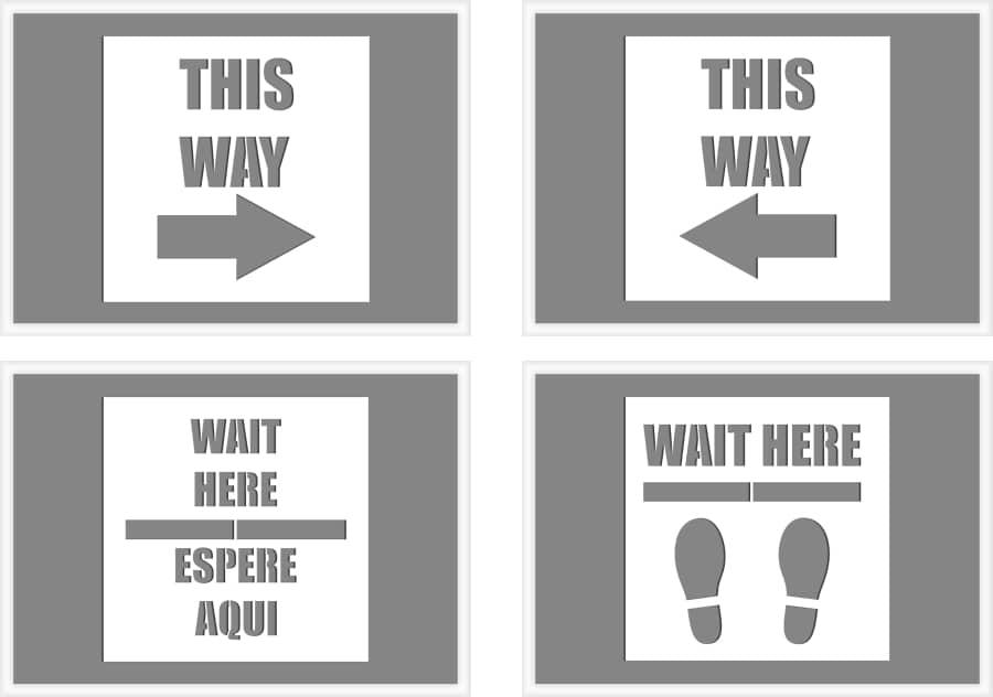 social distancing sign stencils